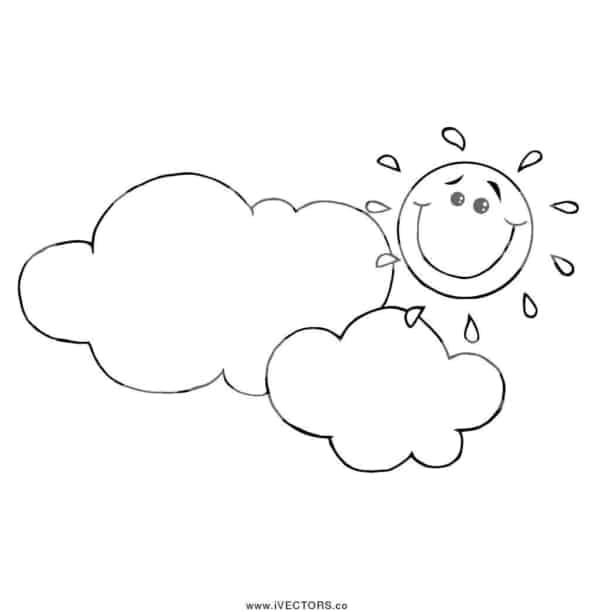 desenho de sol entre nuvens para pintar