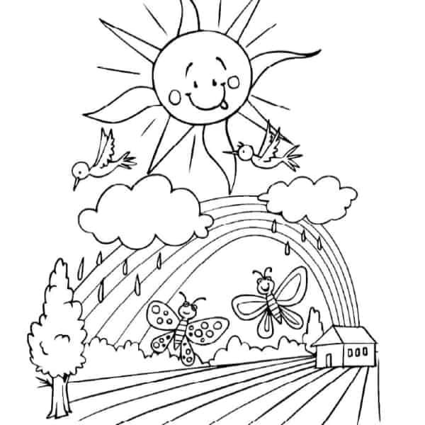 desenho para colorir de sol com nuvens de chuva