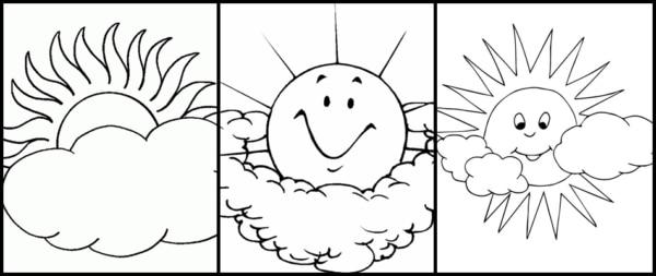 desenhos de sol com nuvens para imprimir e colorir
