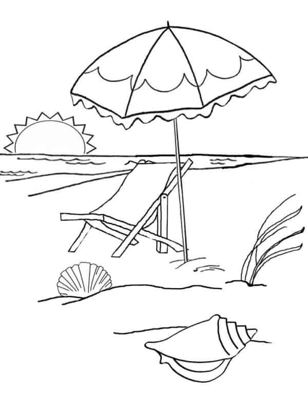 desenho de pôr do sol na praia para pintar