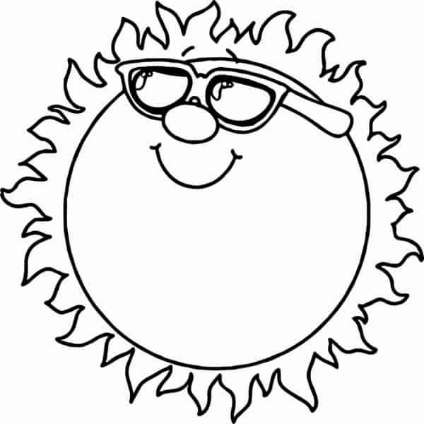 desenho de sol com óculos para pintar
