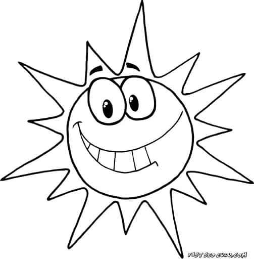 desenho divertido de sol para pintar