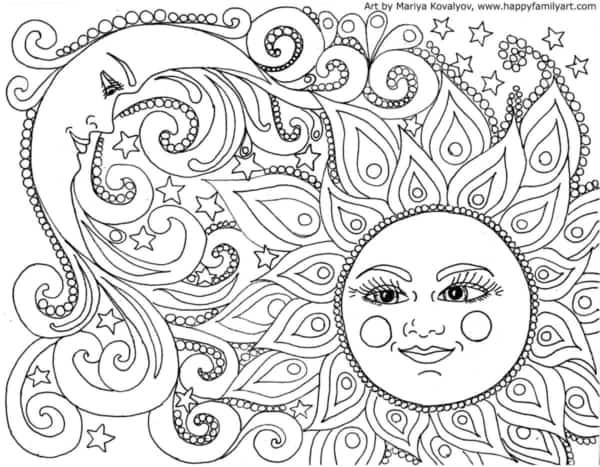 desenho de sol e lua para imprimir e colorir