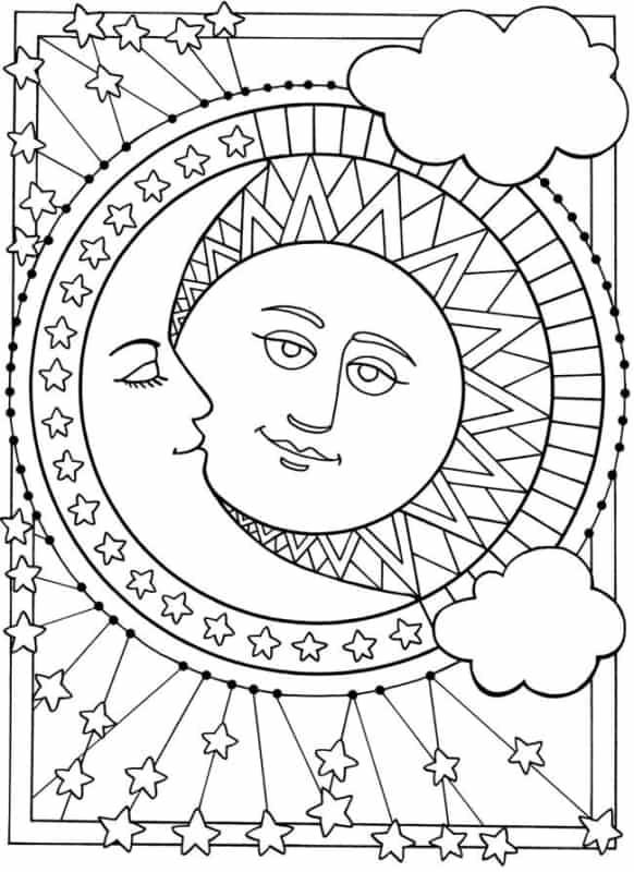desenho grátis de sol e lua para pintar