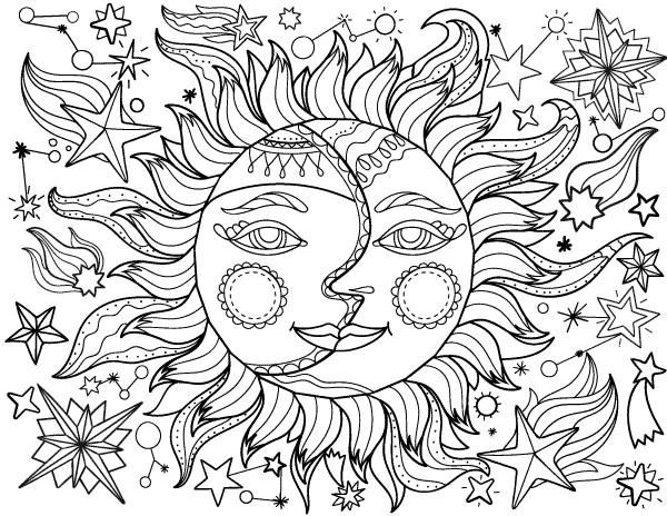 desenho para imprimir grátis do sol com a lua