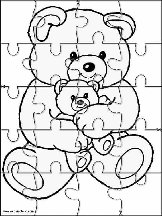 quebra cabeça de urso para imprimir e colorir