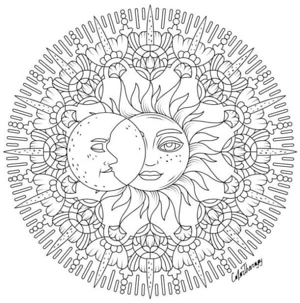 desenho detalhado de sol e lua para pintar