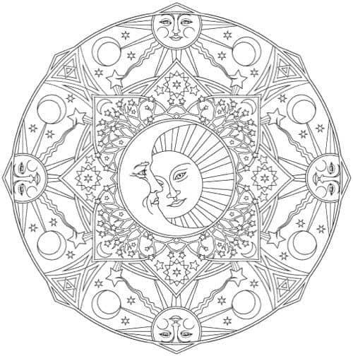 desenho de sol com lua para imprimir e pintar