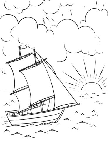 desenho de sol se pondo no mar