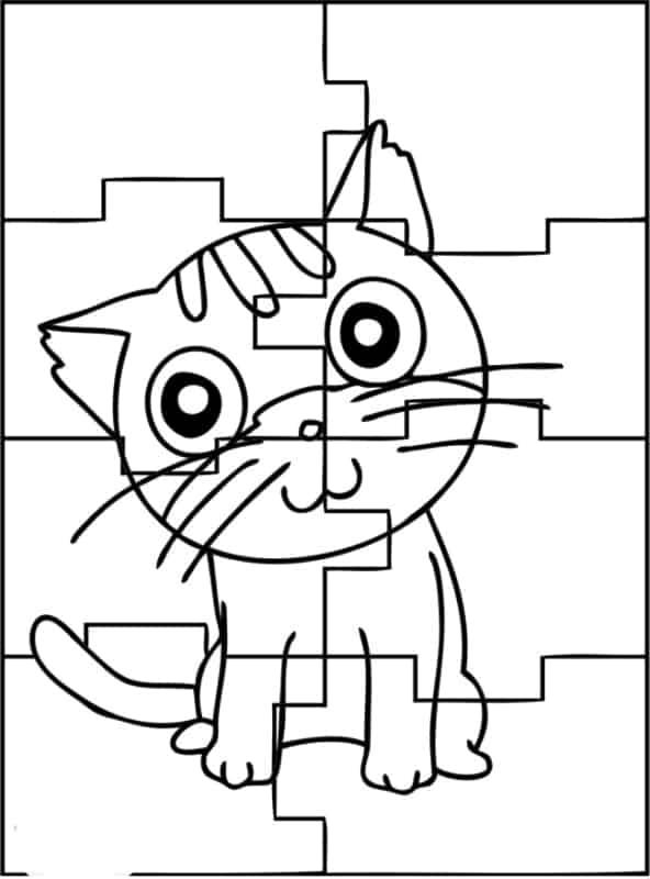 quebra cabeça simples de gato para imprimir