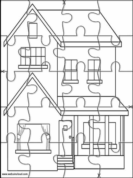 quebra cabeça de casa para colorir e imprimir