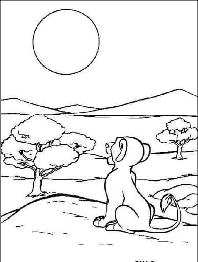 desenho para colorir do sol de pondo na natureza
