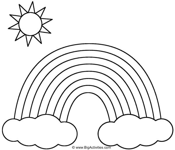 desenho simples de sol com arco íris para pintar