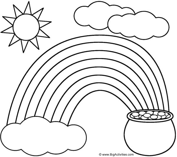 desenho de céu com sol e arco íris para imprimir e pintar