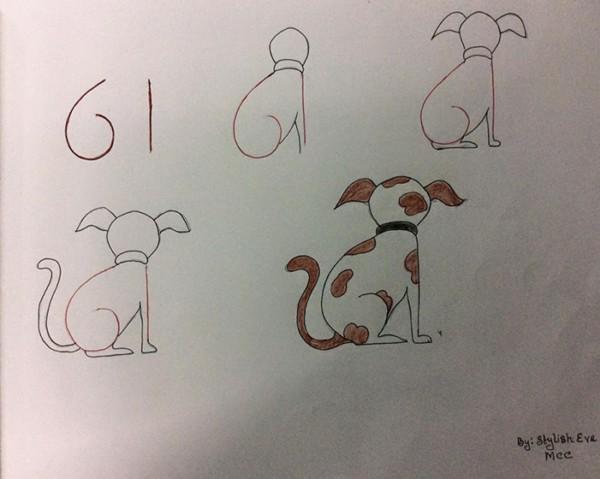 Como desenhar animais com números cachorro