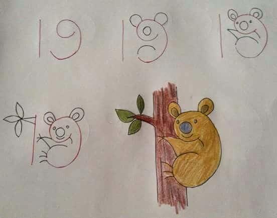 Como desenhar animais com números coala