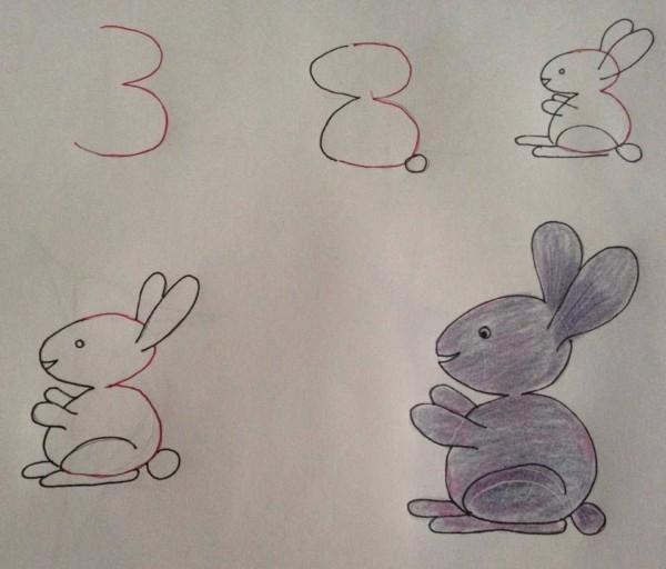 Como desenhar animais com números coelho