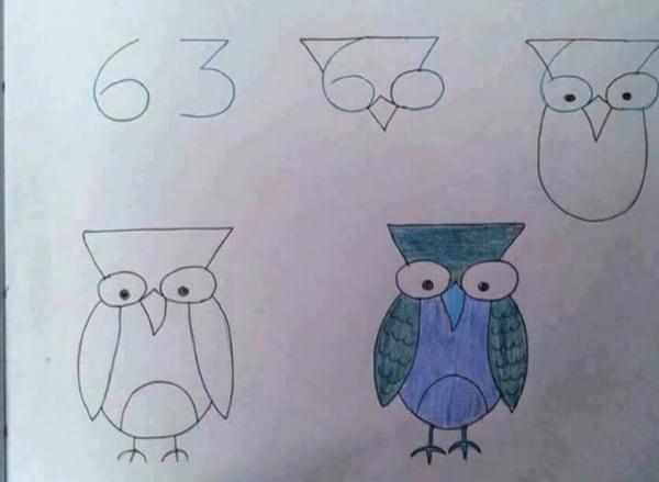 Como desenhar animais com números coruja