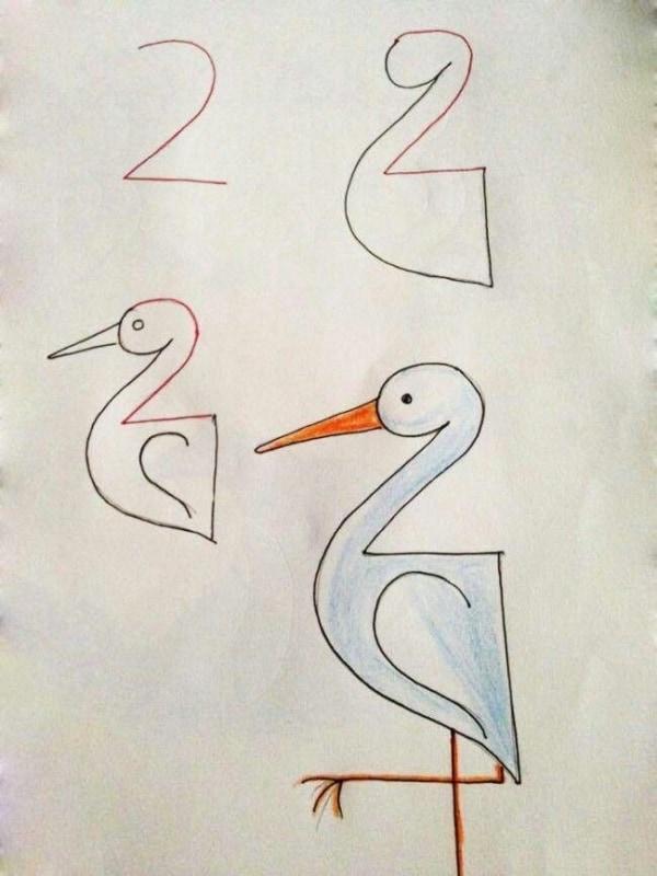 Como desenhar animais com números garça