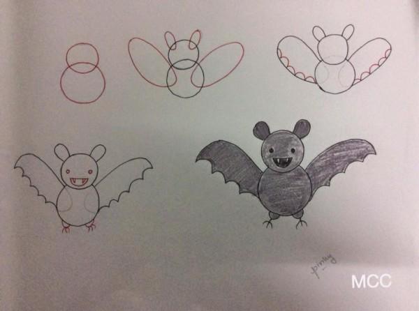 Como desenhar animais com números morcego