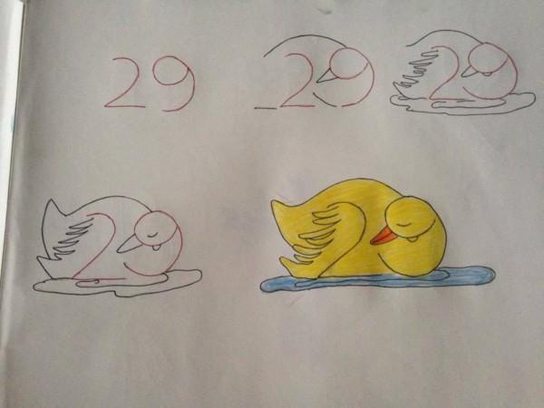 Como desenhar animais com números pato
