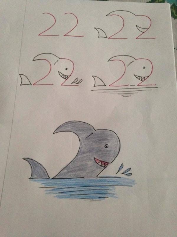 Como desenhar animais com números tubarão