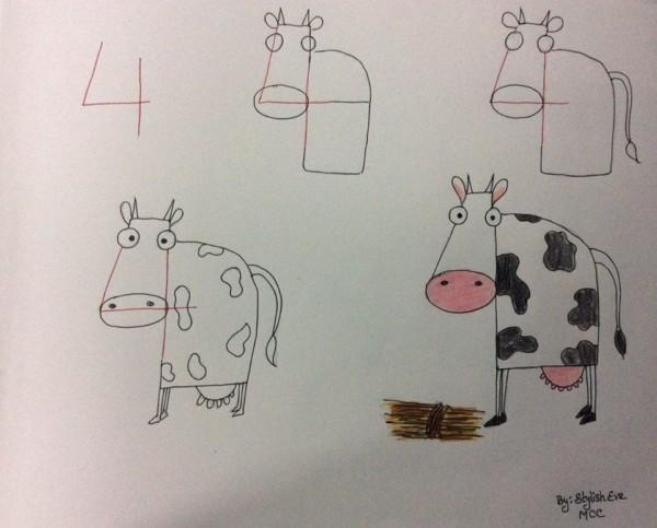 Como desenhar animais com números vaca
