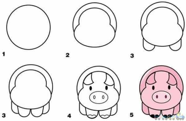 Como desenhar animais porco