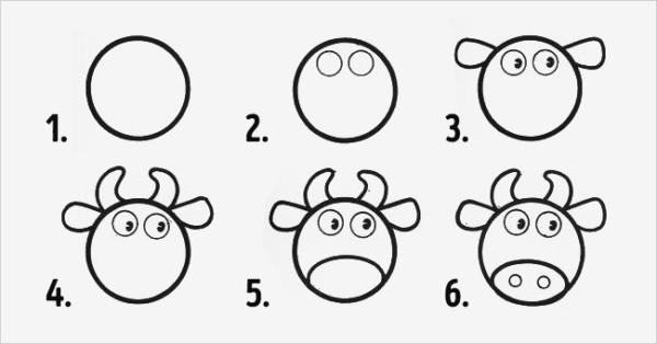 Como desenhar animais vaca