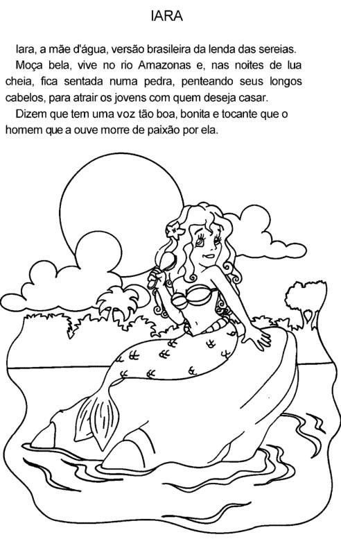 Desenho da sereia Iara com resumo da lenda
