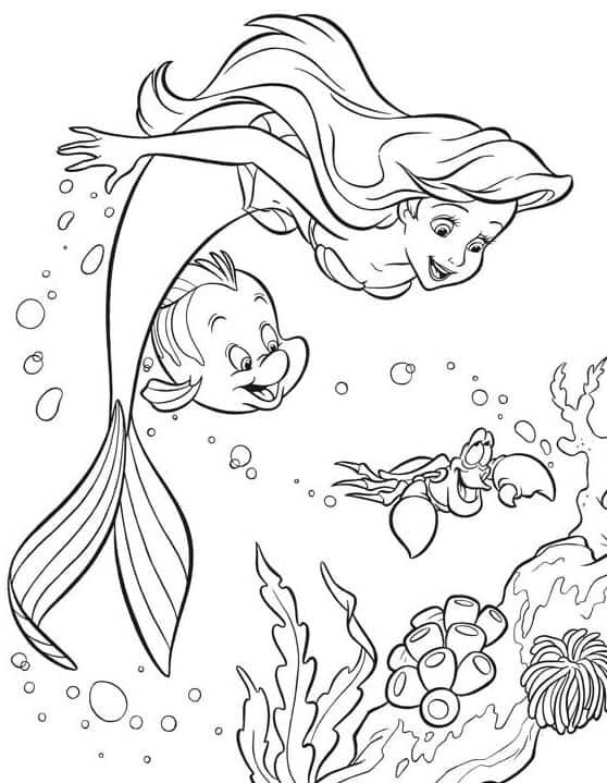 Desenho do filme a pequena Sereia para colorir
