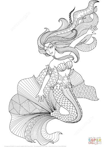 Desenho incrível de sereia para colorir
