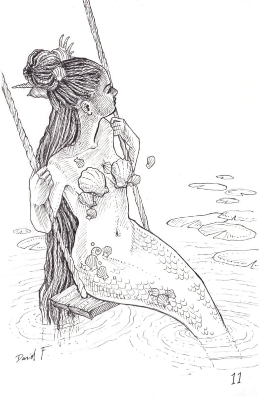 Desenho realista de sereia para colorir