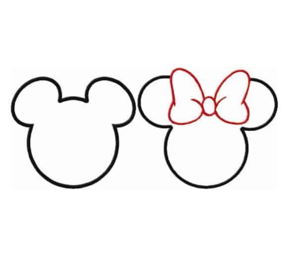 Formato da cabeça do Mickey e da Minnie com laço para colorir