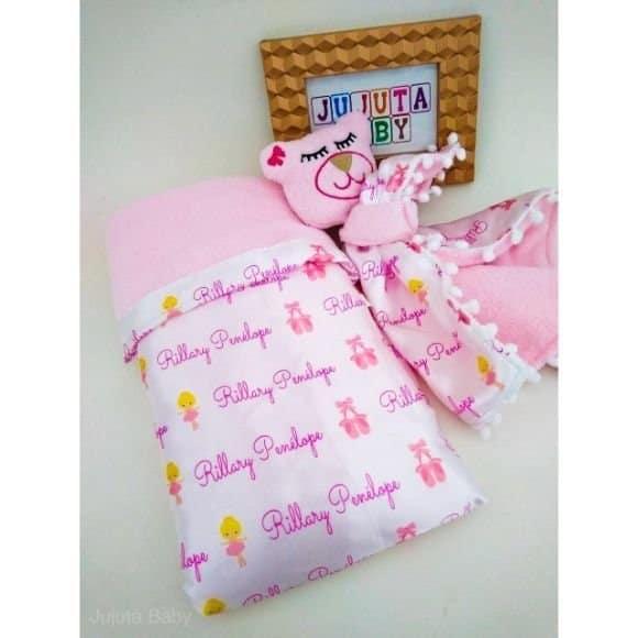 Kit com naninha para bebê personalizada