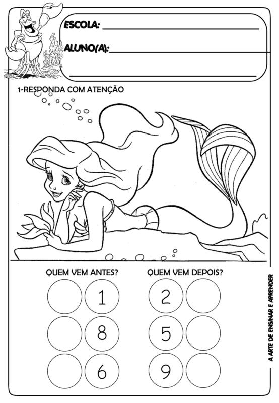 Lenda da sereia para colorir para atividades escolares