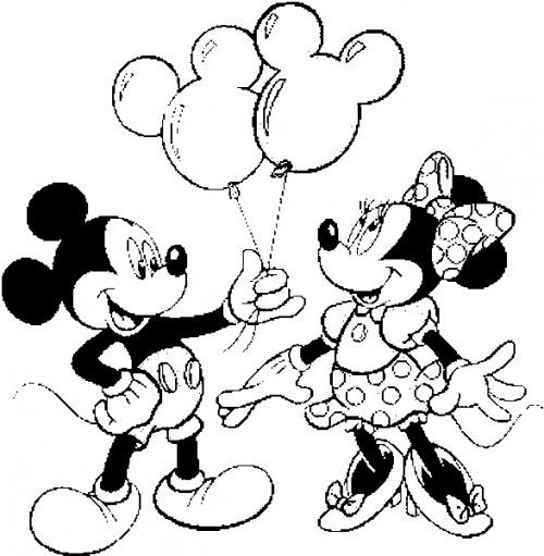 Mickey e Minnie para colorir juntos
