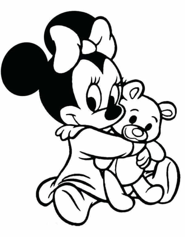Minnie baby com ursinho para colorir e divertir as crianças