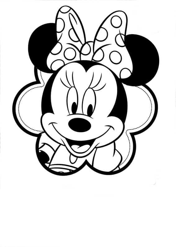 Minnie para colorir com lacinho de bolinha