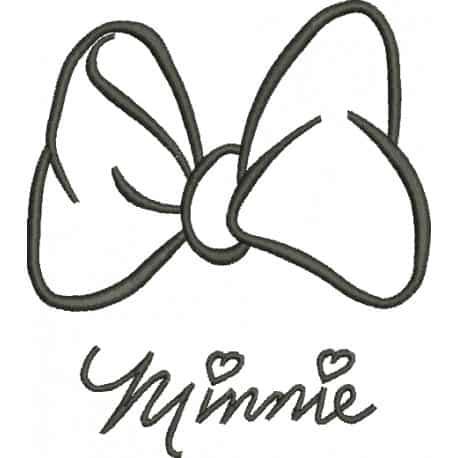 Modelo de laço da Minnie para criançada colorir
