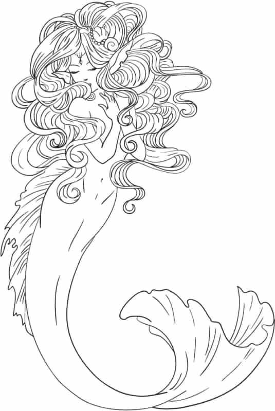 Modelo de sereia para colorir em traços realisticos