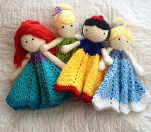Naninhas de crochê das princesas da Disney