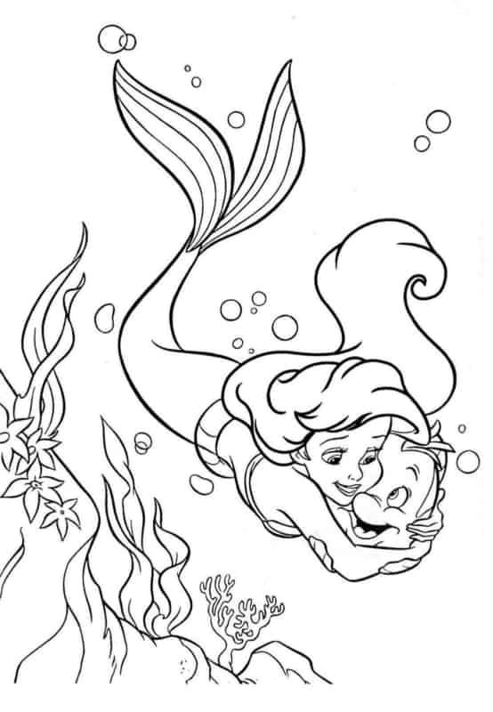 Pequena sereia Ariel para colorir e entreter as crianças