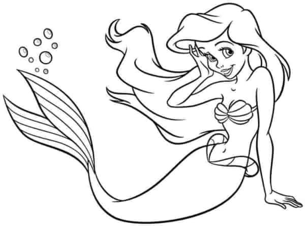 Pequena sereia Ariel para colorir