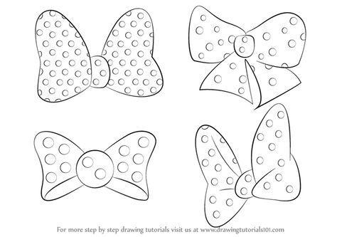 Quatro laços da Minnie para colorir