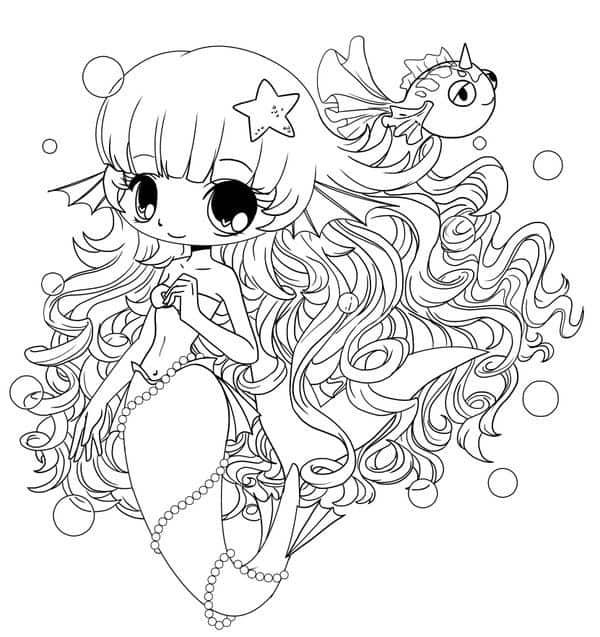 Sereia Kawaii para colorir e entretar a criançada
