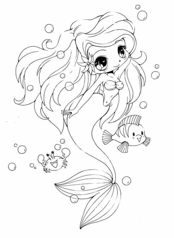 Sereia Kawaii para colorir faz muito sucesso entre as crianças
