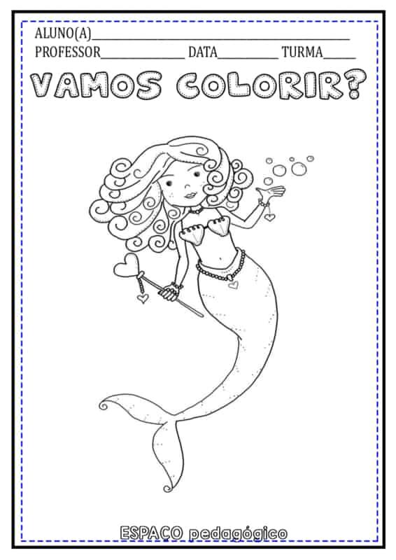 Sereia para colorir com rodapé para atividades escolares