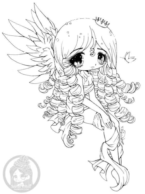 Sereia para colorir no estilo Kawaii