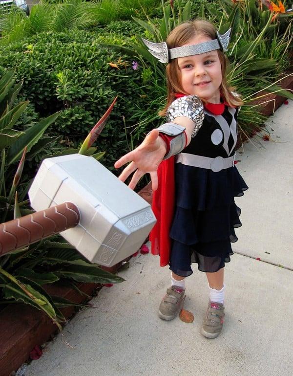 fantasia thor infantil menina com martelo